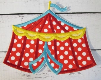 Ready To Ship SEWFAST Circus Tent Iron On or Sew On Embroidered Applique