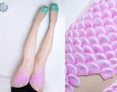 Mermaid Tights with handmade silicone scales on thigh