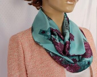 Green silk satin scarf