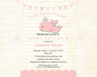 Nautical Baby Shower - Whale Baby Shower Invitation - Whale Baby Shower Party - Pink Whale Invitation - Whale Shower - Baby Girl - Whale
