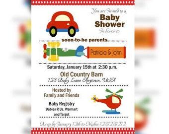 Transportation Baby Shower Invitations, Airplane Baby Shower Invitations, Cars and Trucks Invitations, Cars and Helicopters Shower Invites