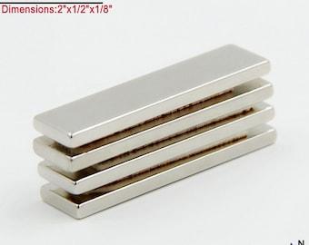 "4-Ct (Free Shipping) 2"" x 1/2"" x 1/8"" Highest Quality Neodymium N40 NdFeb Block Magnets"