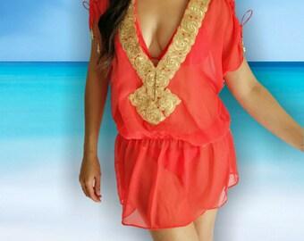 50% OFF Red beach coverup, Beach Coverups, Beach caftans,  swimsuit coverups, beach cover up, beach tunic, Kaftan, resort, vacation, gold