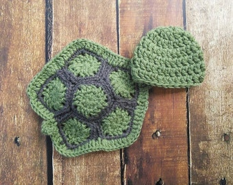 Newborn Baby Boy Girl Crochet Turtle Photography Prop Shell Hat