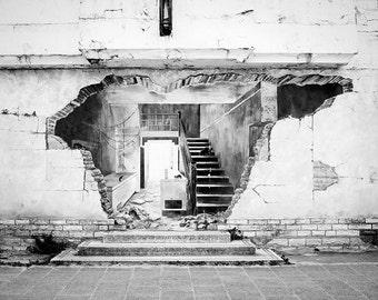 Black and White Photography - Street Art Photo - Optical Illusion Photograph - Street Art Print - Graffiti Print - Street Photography