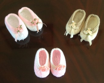 Hand-knitted ballet pumps with embellishments