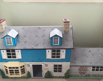 Vintage MARX 2-Story Tin Lithograph Colonial Doll House with 3rd Story Dormers