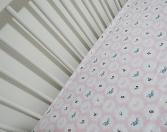 NEW! Fitted cot sheet. Peter Rabbit (pink and white)
