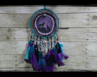 Purple and Turquoise WOLF Dream Catcher