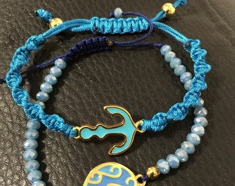 Sea waves and anchor bracelets