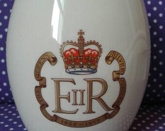 Holkham Silver Jubilee owl mug. Cream Holkham pottery, England, cup, mug, unique handle looks like owl face. Queens jubilee 1977.
