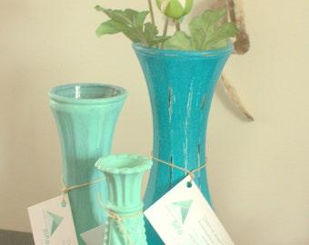 Shabby Chic - revaluation Aina turquoise vase