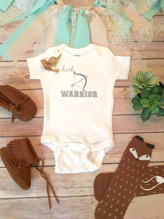 Little Warrior Baby esie with Bow and Arrow Boho Baby