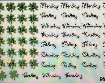 March Shamrock Days of the Week Month Set ECLP Mambi Inkwell Press Filofax Kikki K Happy Life Planner