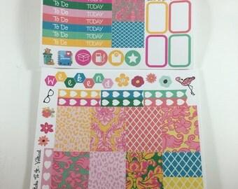 Tropical Palm Springs Mini Weekly Set ECLP Horz & Vert Planner Stickers Full Week Set Floral ECLP Mambi Inkwell Press Filofax KikkiK Happy