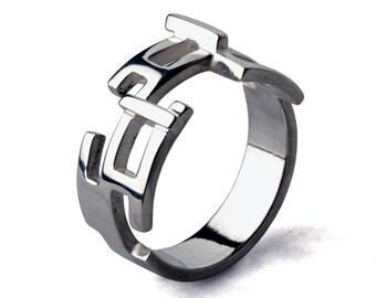 CIRCUITS Sterling Silver Mens Ring, Edgy Mens Silver Ring, Unique Mens Ring, Large Silver Band Ring, Cool Mens Ring