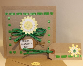 Handmade Shabby Chic style Floral Mothers Day card and matching Gift Tag