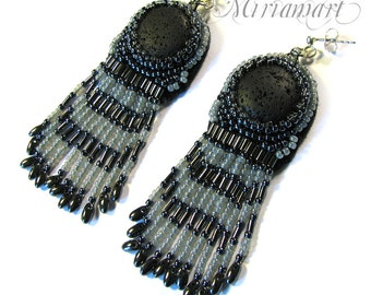 Earrings silver - Goth, victorian volcanic lava