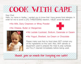 Personalized Dairy Allergy Chef/Restaurant Cards for Child w/ Picture- Medical Alert Dining Card- Printable Food Allergy Card