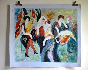 Parisian Ladies Oil on Canvas Painting