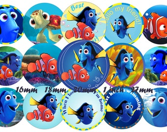 PRINTABLE Instant Finding Dory Bottle Cap Images, 1 INCH Round Images Finding Dory 1 inch Finding Nemo image Download Printable Finding Dory