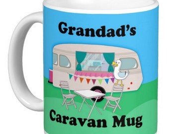 Caravan, Caravan Mugs Customizable, Grandad's Caravan Mug, Mum's Caravan Mug, Any Name Or Family Member