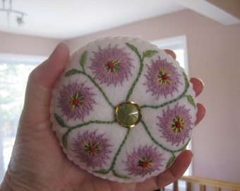 White Embroidered Handmade Felt Pincushion