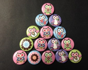Spring Owl Themed Buttons  Set of 15