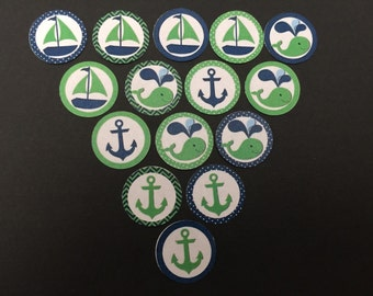 Anchors Sail Boats & Whales Green and Blue Buttons Set of 15
