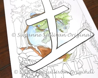 Earth Element Coloring Page Japanese Kanji Nature Adult