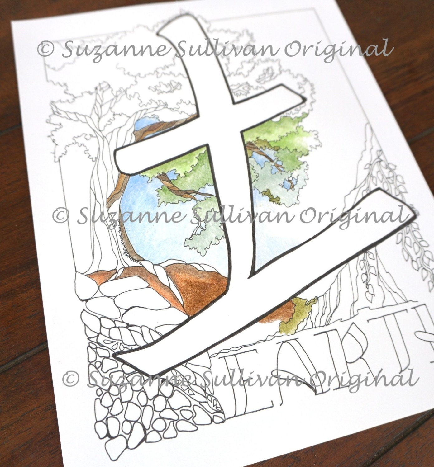 Earth Element Coloring Page Japanese Kanji
