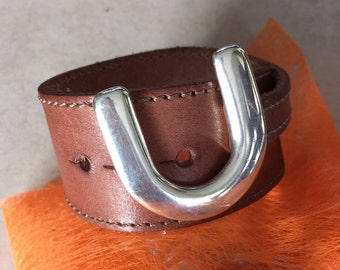 Stitched brown leather cuff and buckle silver metal Horseshoe