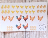 Watercolor Chickens & Chicks Planner Agenda Stickers