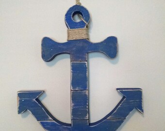 Anchor Hand-Painted Reclaimed Wooden Sign