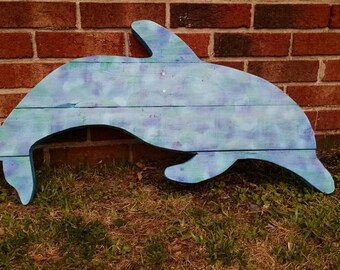Dolphin Hand-Painted Reclaimed Wooden Sign-Ships