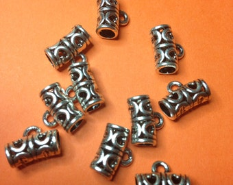 10 Tibetan Silver spacer charms