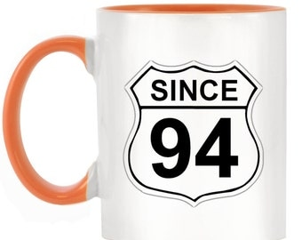 US Route 66 Roadsign 94 2-Tone Mug with matching handle and inner - 10 colours available