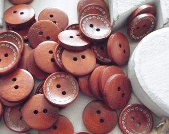 10 Dark Brown Wooden Buttons-2cm diameter