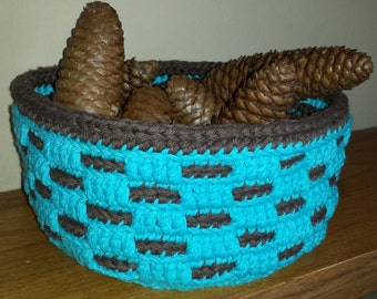 Woven Basket Teal & Brown Handmade Crochet