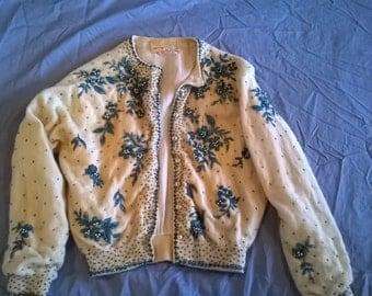 Vintage Cream Hand Beaded Sweater