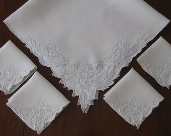 Vintage off white linen embroidered tablecloth and 4 matching napkins