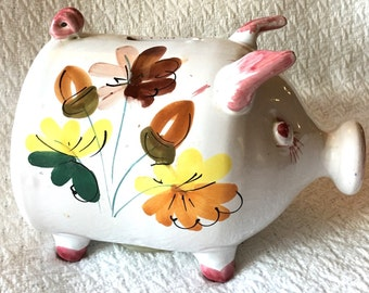 Vintage Italian White Ceramic Collectors Piggy Bank Acorn handpainted