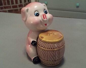 Vintage Pig and Barrel Ceramic Salt and Pepper Shakers