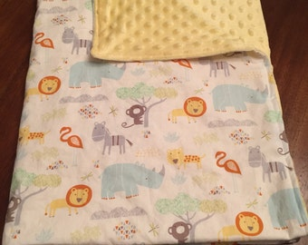 Minky Blanket - Baby - Toddler - Zoo Animals - Yellow - Gender Neutral
