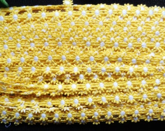 "Venise Lace 1/2"" Daisy Yellow & White selling by the yard"