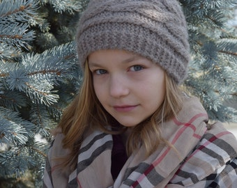 Cafe Au Lait Cable Knit Wool Hat, Girl/Teen/Woman, Made to Order