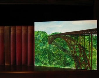New River Gorge Painting Print-West Virginia-Summer-Bridge-Mountains-Watercolor
