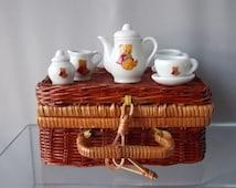 Teddy Bears Picnic Set, Role Playing Set, Porcelain Tea Set, Raffia Cane & Red Gingham Picnic Basket, Collectors, Child's Picnic Vintage Set