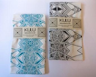 Tea Towels. Two Screen Printed Tea Towels. Fair-trade Organic Cotton Tea Towels by Kulu