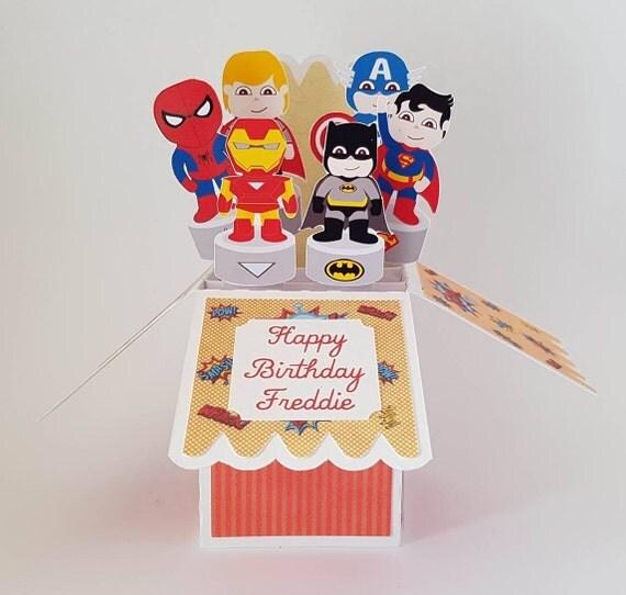 Superhero 3D Pop Up Personalised Greeting Card handmade Happy – Iron Man Birthday Card